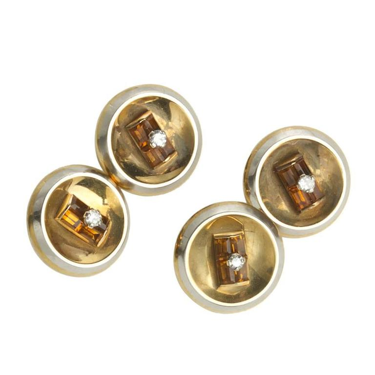 Citrine and Gold Cufflinks