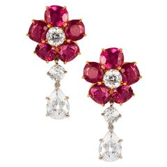 Ruby Diamond gold platinum Earrings