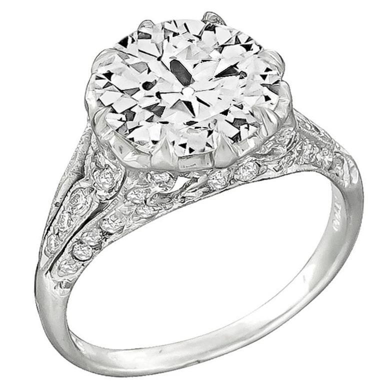 3.10 Carat Diamond Platinum Engagement Ring