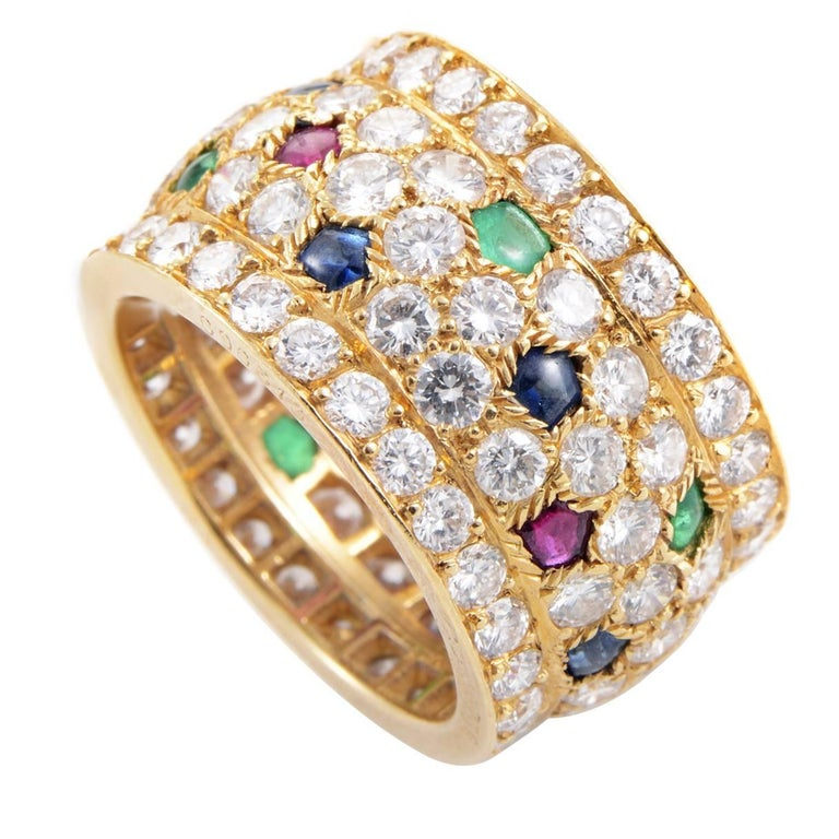 Cartier Panthere Multi-Stone Diamond Gold Ring For Sale