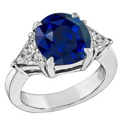 Natural 4.12 Carat Ceylon Sapphire Diamond Gold Engagement Ring