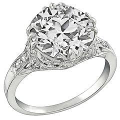 Amazing 4.20 Carat Diamond Platinum Engagement Ring