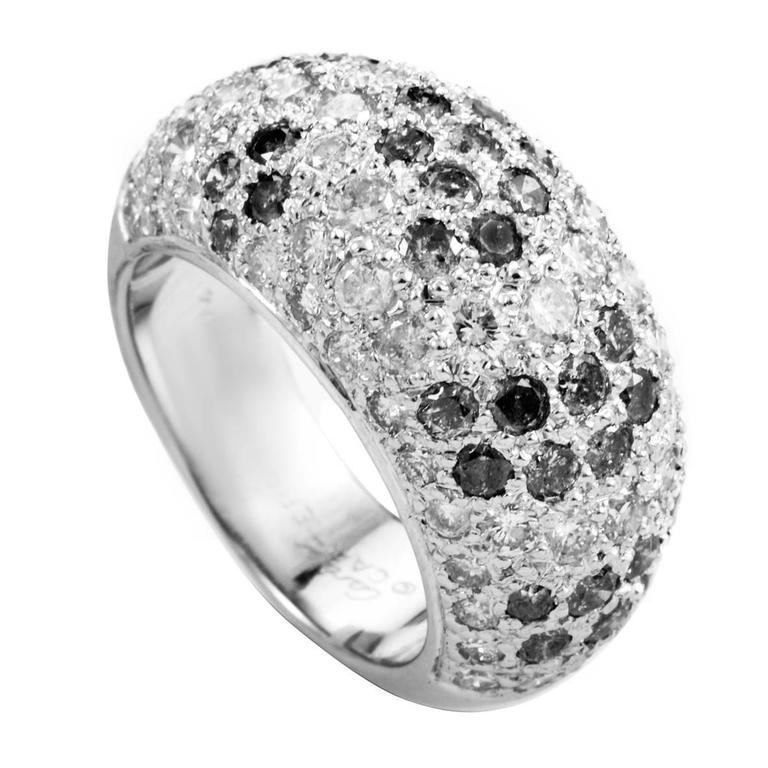 Cartier White and Black Diamond Pave White Gold Band Ring