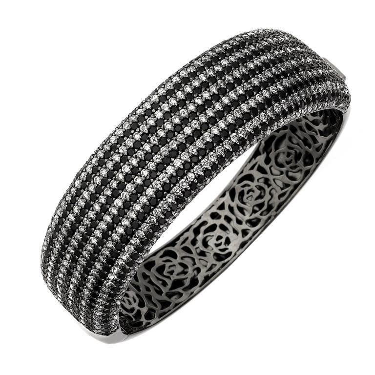 19.00 Carat Wide Stunning Black and White Diamond Bangle