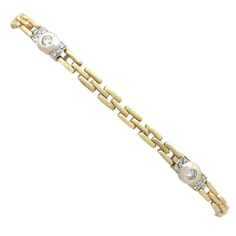 0.60Ct Diamond & 18k Yellow Gold, 18k White Gold Set Bracelet - Vintage