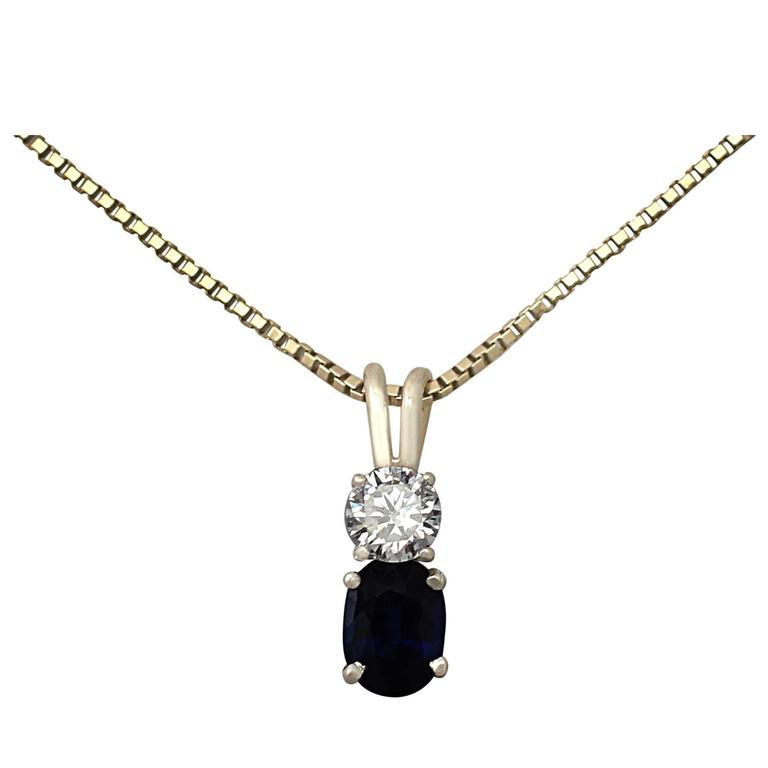 0.74Ct Sapphire & 0.28Ct Diamond, 18K White Gold Pendant - Vintage Circa 1950
