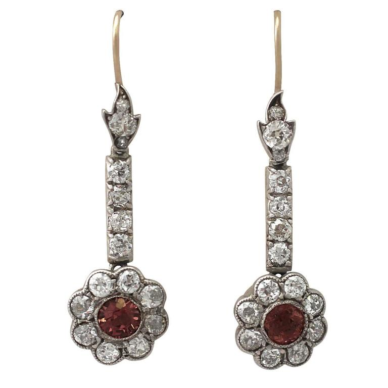 2.42Ct Diamond & 1.05Ct Pink Sapphire, 12k Yellow Gold Drop Earrings – Antique