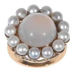 Moonstone Pearl Gold Cluster Ring