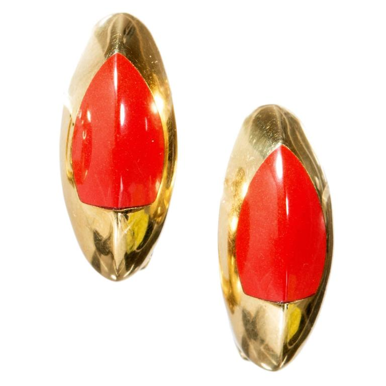 Natural Untreated Coral Gold Earrings
