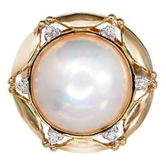 Mabe Pearl Diamond Gold Ring