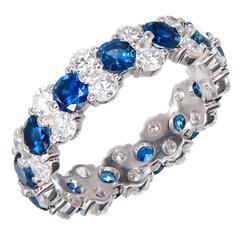 Peter Suchy Three Row Sapphire Diamond Platinum Eternity Band Ring
