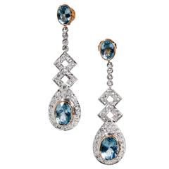 Aquamarine Diamond Silver Gold Dangle Earrings