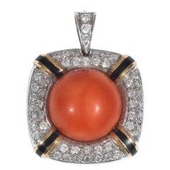 Corallium Rubrum Enamel Diamond Two Color Gold Pendant