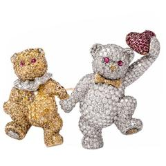 White and Yellow Diamond Ruby Hat Teddy Bears Pin