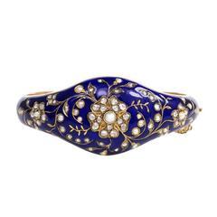 Antique Blue Enamel Pearl Diamond Gold Bangle Bracelet