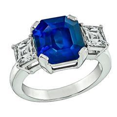 Magnificent 6.49 Carat Sapphire Diamond Platinum Ring
