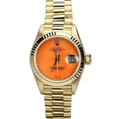 Rolex Lady's Yellow Gold Coral Dial President Wristwatch Ref 69138