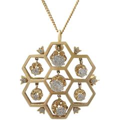 1.29Ct Diamond & 18k Yellow Gold Pendant/Brooch - Antique and Vintage