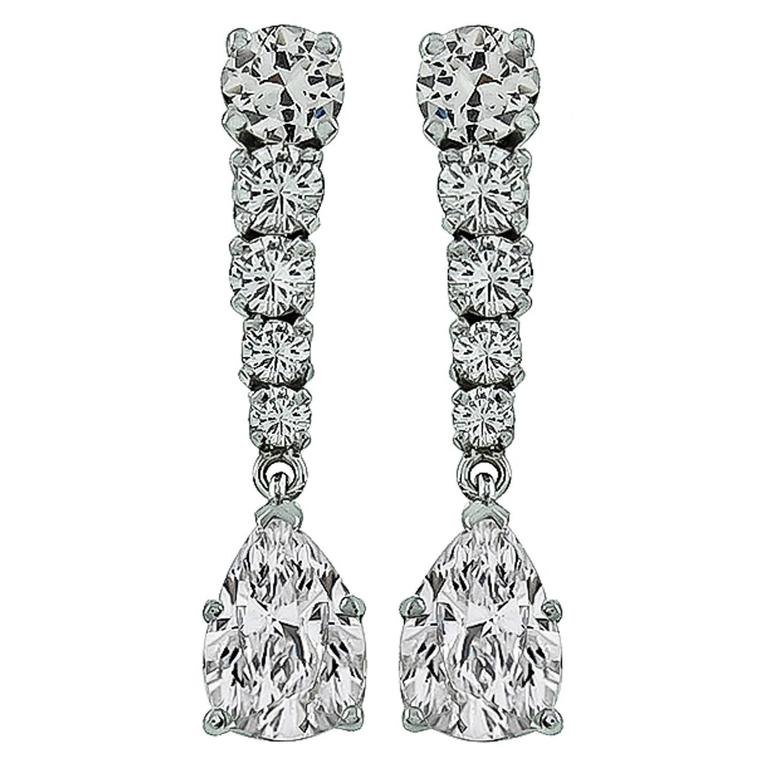 Charming Diamond Gold Drop Earrings For Sale