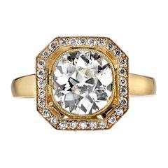2.18 Carat Cushion Cut Diamond Gold Engagement Ring
