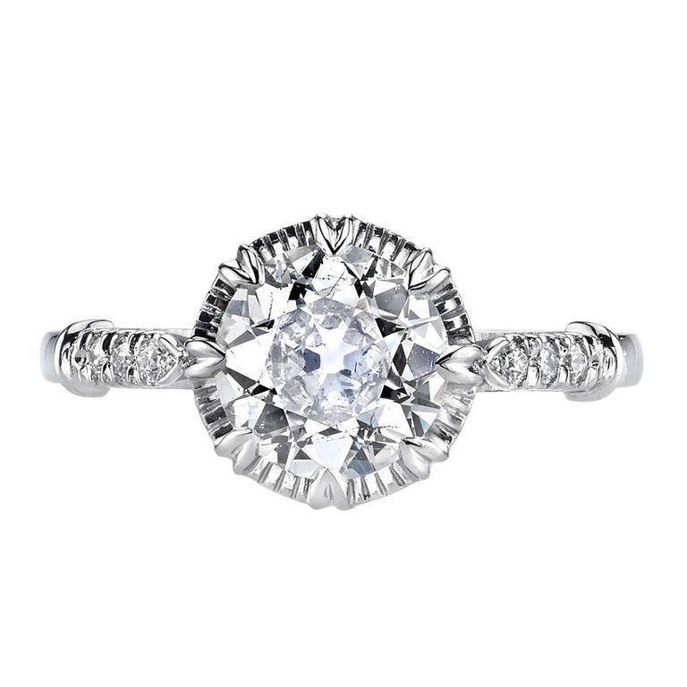 1.44 Carat Old European Cut Diamond Platinum Engagement Ring