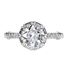 1.44 Carat Old European Cut Diamond Platinum Engagement Ring