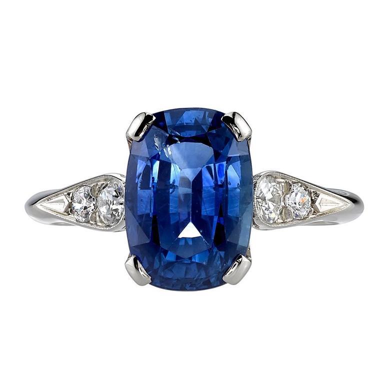 3.77 Carat Cushion cut Sapphire Ring