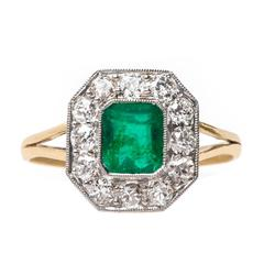 Decadent Art Deco Colombian Emerald Diamond Gold Engagement Ring