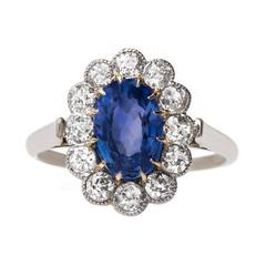 Exceptional Victorian Engagement Ring with Unheated Sapphire and Diamond Halo