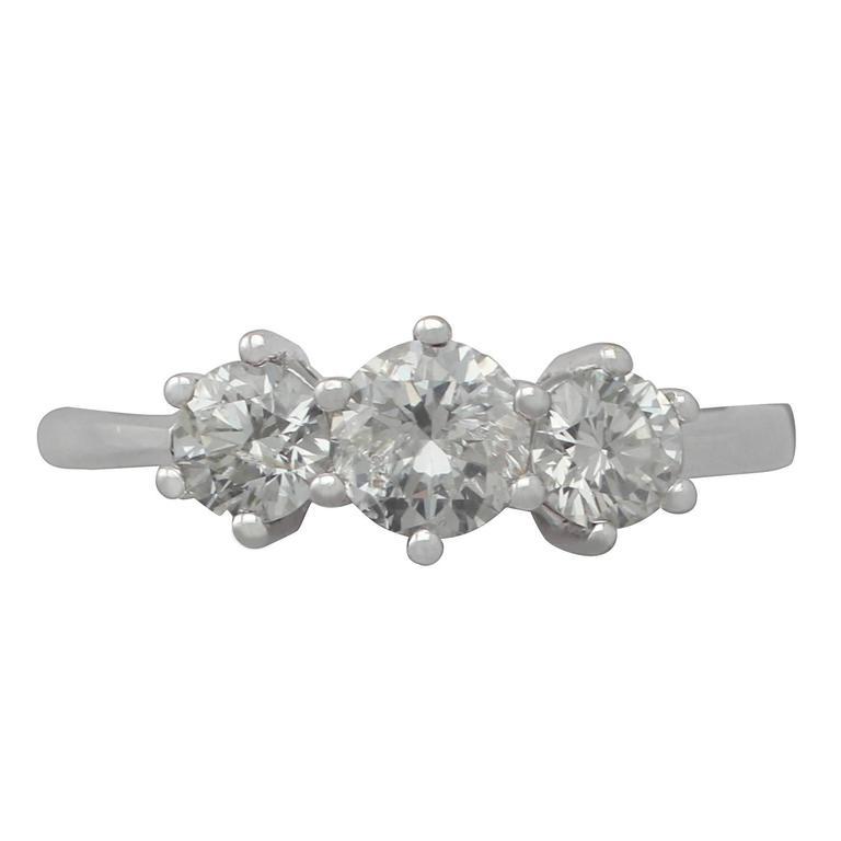 1.04Ct Diamond and 18k White Gold Trilogy Ring - Vintage Circa 1980