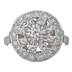 1960s 1.66 Carat Diamond and Platinum Cocktail Ring