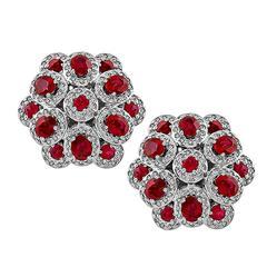 Magnificent Ruby Diamond Gold Cluster Earrings