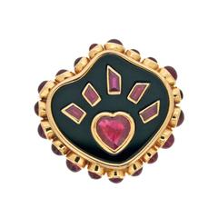 Onyx Ruby Gold Flaming Heart Ring