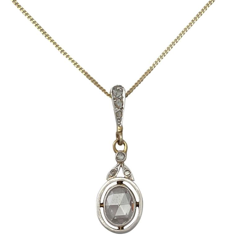 0.56Ct Diamond & 18k Yellow Gold, 18k White Gold Set Pendant - Antique