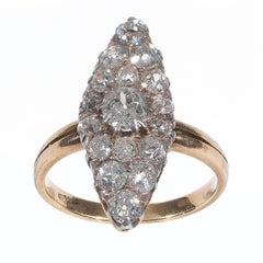 Antique Diamond Silver Gold Cluster Ring