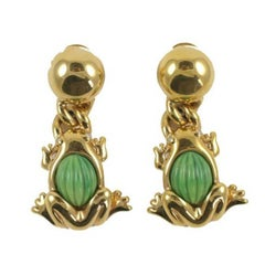 Valentino Goldtone Frog Earrings