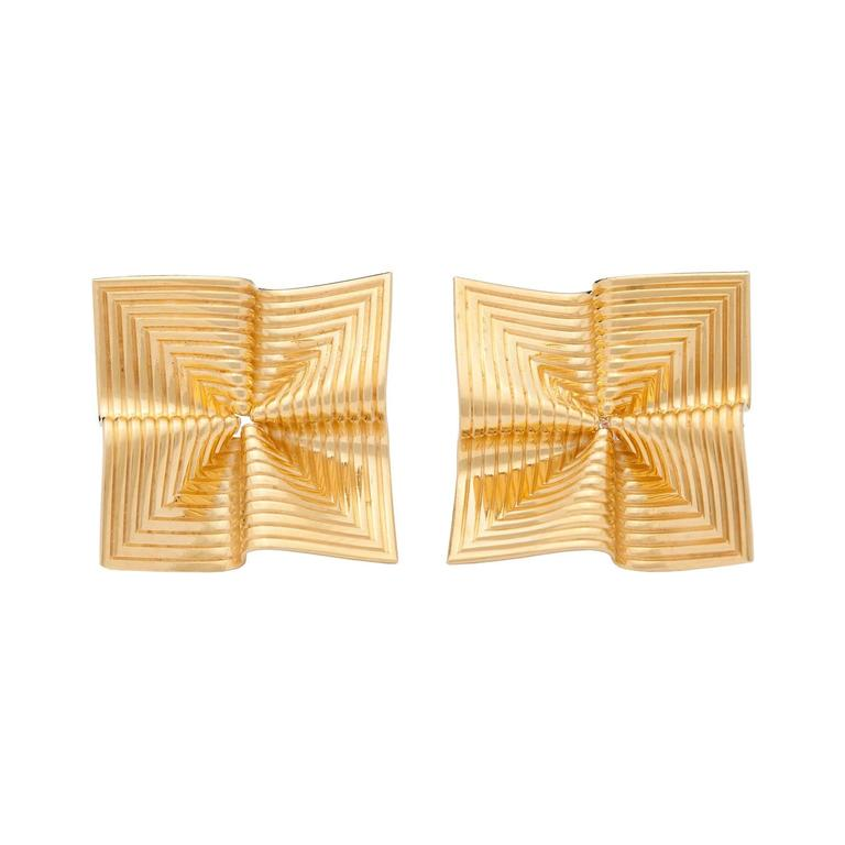 Tiffany & Co. Gold Fluted Earrings For Sale