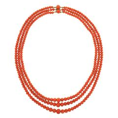 Antique Three-Strand Natural Coral Necklace