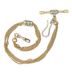 0.52Ct Diamond & Turquoise, 18k Yellow Gold Lorgnette/Watch Chain - Antique