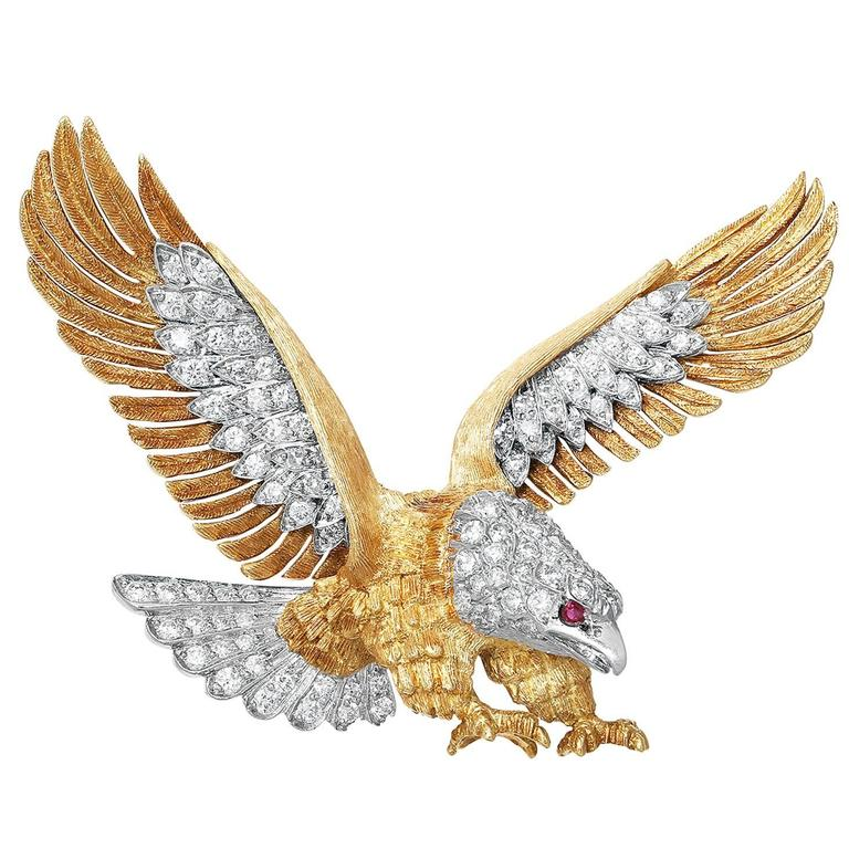 McTeigue Ruby Diamond Gold Platinum Carved Eagle Pin For Sale