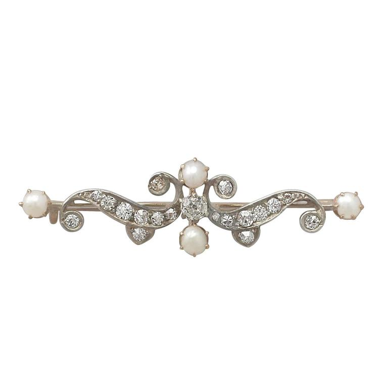0.83Ct Diamond and Pearl, 9k Yellow Gold Brooch - Antique Circa 1890
