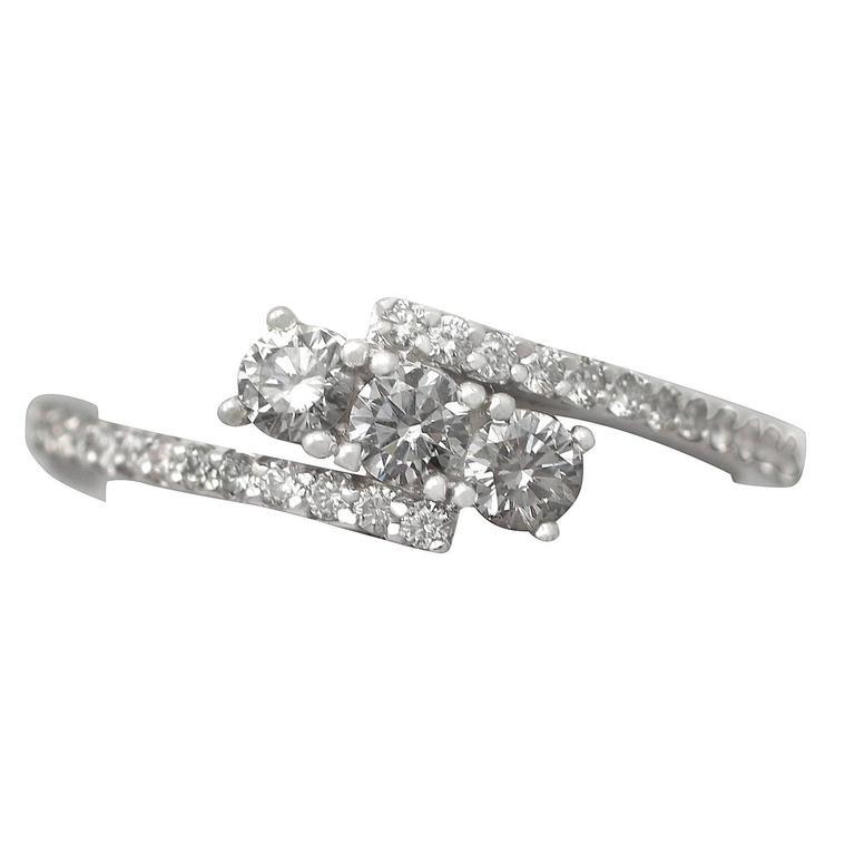 0.56Ct Diamond and 18k White Gold Twist Ring - Vintage Circa 1990