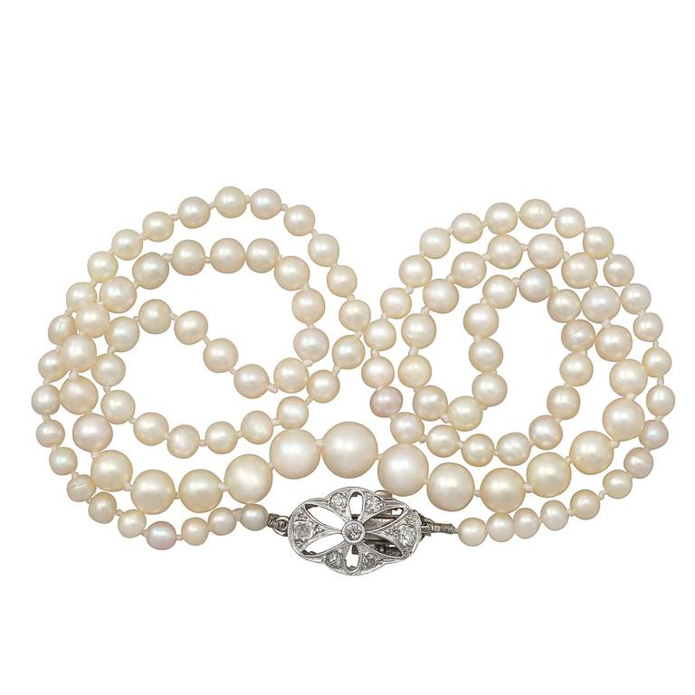 Single Strand Pearl Necklace with 0.25Ct Diamond, 9k White Gold Clasp - Antique 1