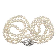 Single Strand Pearl Necklace with 0.25Ct Diamond, 9k White Gold Clasp - Antique