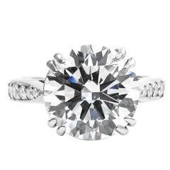 3.57 Carat Certified F VS2 Round Brilliant Diamond Platinum Engagement Ring