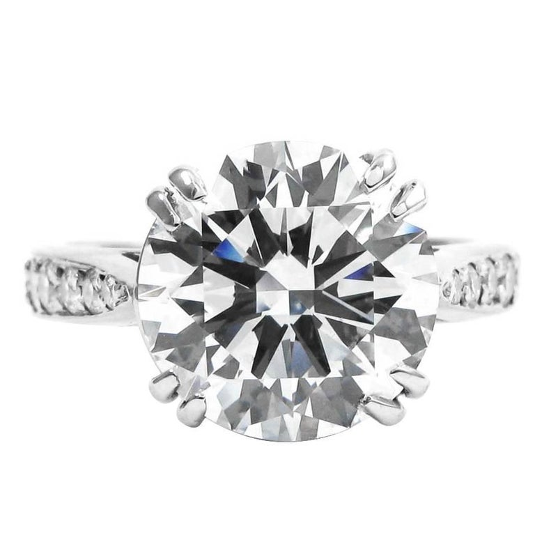 1ac1a3ee099e17 3.57 Carat Certified F VS2 Round Brilliant Diamond Platinum Engagement Ring  For Sale
