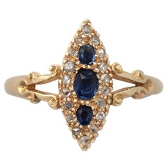 1900s Antique Sapphire & Diamond Yellow Gold Cocktail Ring