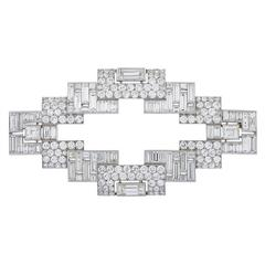 Art Deco Diamond Platinum Brooch by Janesich