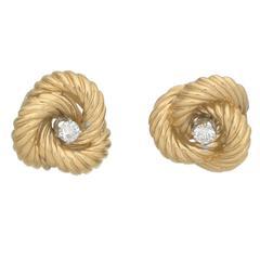 Diamond Gold Knot Stud Earrings