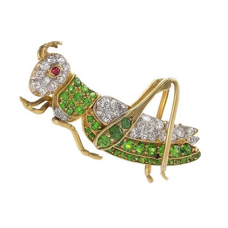 Antique Demantoid Garnet, Diamond, Gold and Platinum Cricket Brooch